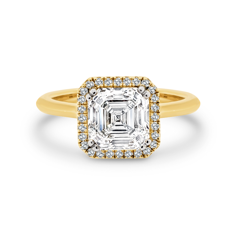 Asscher Cut Diamond Halo Engagement Ring