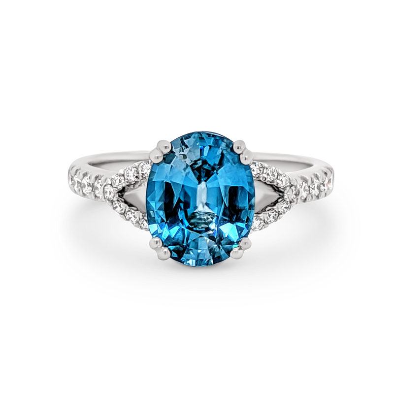 Blue Zircon spilt band ring