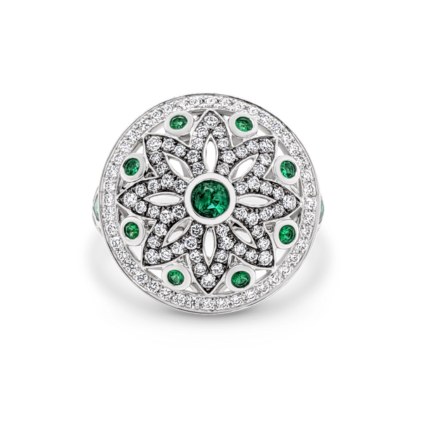 Emerald & diamond dress ring