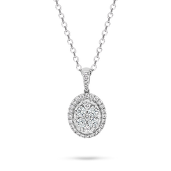 Oval Shaped Halo Diamond Cluster Pendant