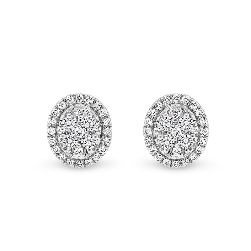 Oval Shaped Diamond Cluster Stud Earrings