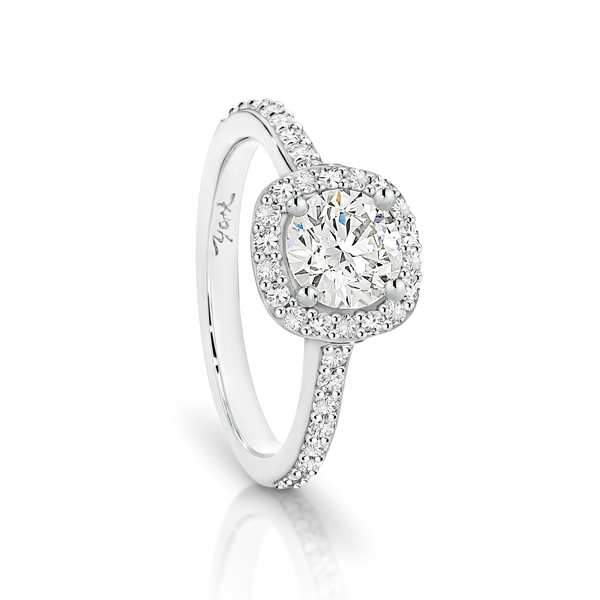 Round Passion8 Diamond Halo Engagement Ring