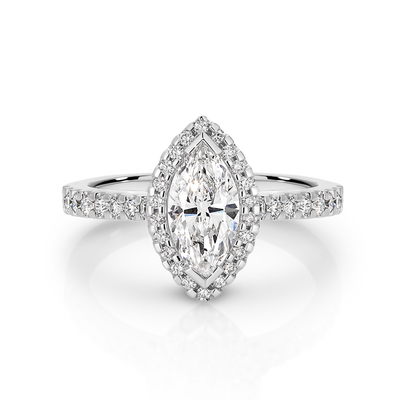 Marquise Shape Diamond Halo Engagement Ring