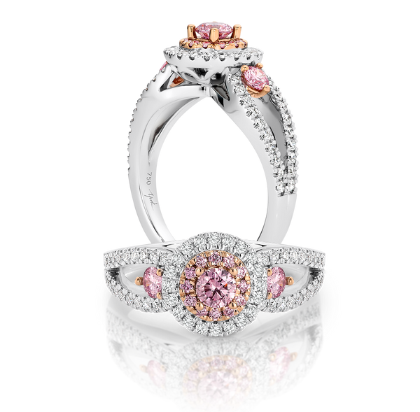 Round Argyle Pink and White Diamond Ring
