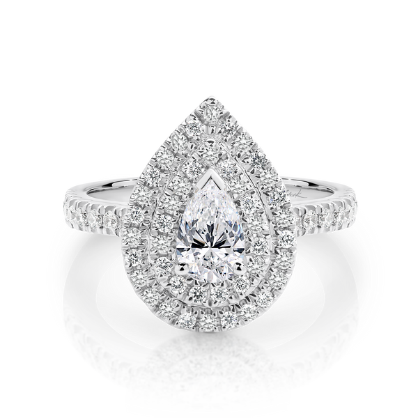 Double Halo Pear Shape Diamond Engagement Ring