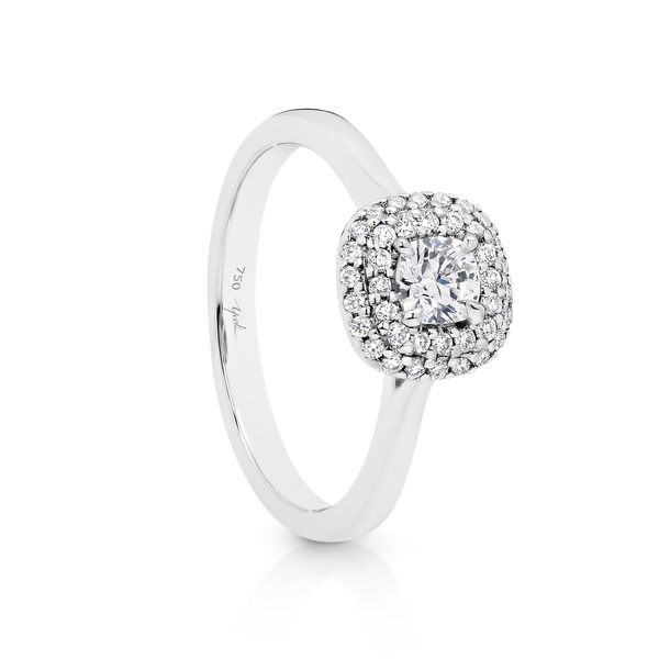 Cushion Cut Passion8 Diamond Halo Engagement Ring
