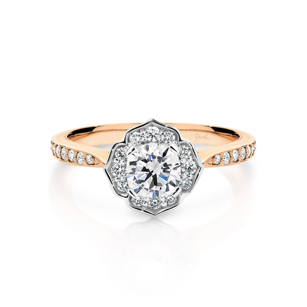 Cushion Cut Passion8 Diamond Floral Halo Engagement Ring