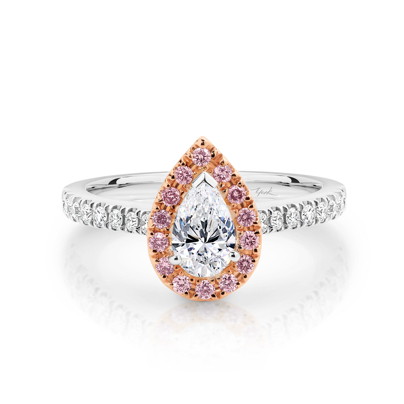 Pink and White Diamond Pear Shape Halo Engagement Ring
