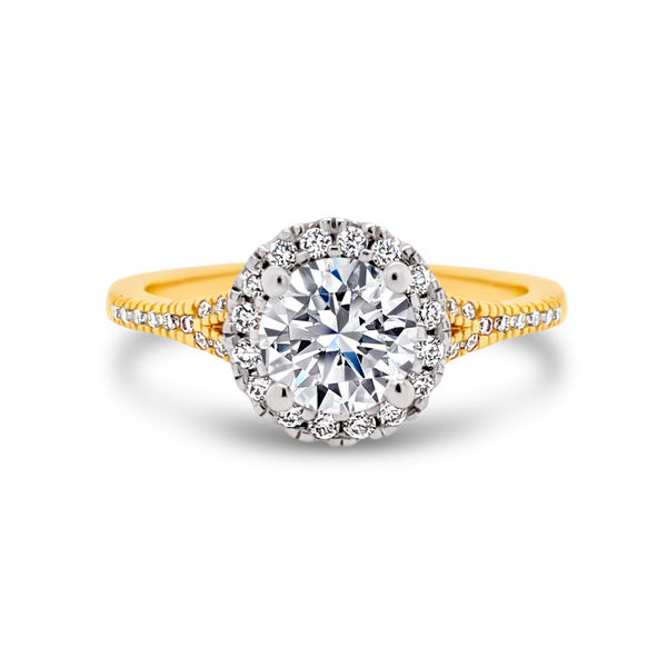 Passion8 Diamond Round Halo Ring on Split Band