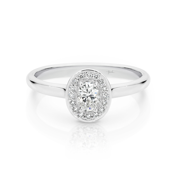 Oval Diamond Halo Engagement Ring