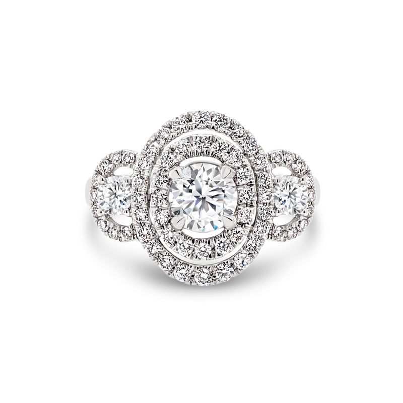 Passion8 Double Halo Trilogy Diamond Ring