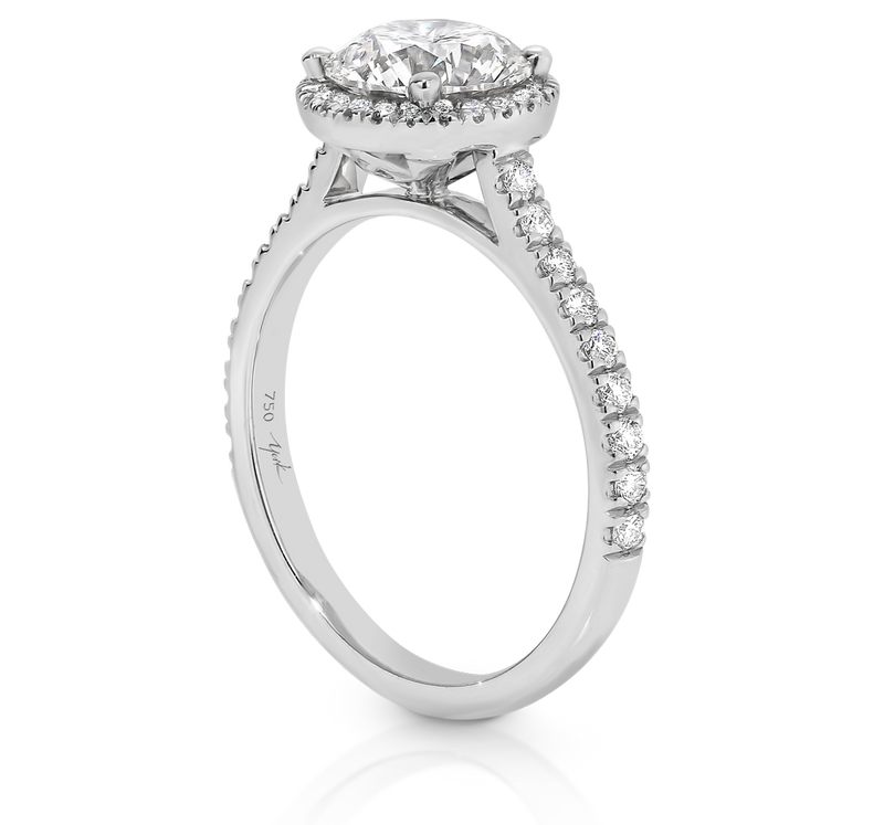 Australian Argyle Round Diamond Ring with Diamond Set Halo and Band