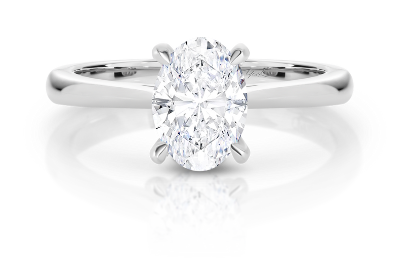 Olivia-Oval Shape Solitaire Diamond Engagement Ring in White Gold