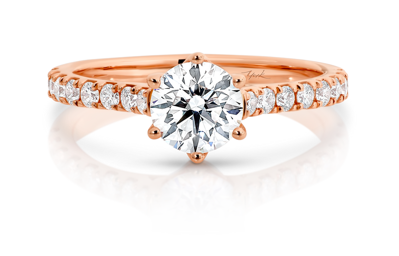 Australian Argyle Round Diamond Engagement Ring with Diamond Set Band
