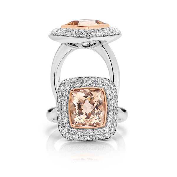 Cushion Cut Morganite and Double Halo Diamond Ring