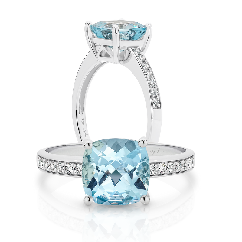 Cushion Cut Aquamarine and Diamond Ring