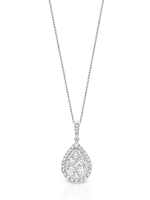 Diamond Pear Shaped Cluster Halo Pendant
