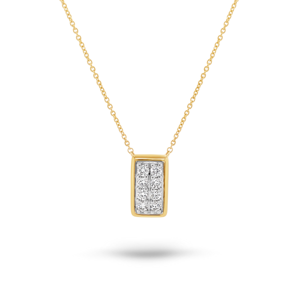Two Tone Rectangle Diamond Pendant