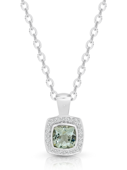 Green Amethyst and Diamond Pendant