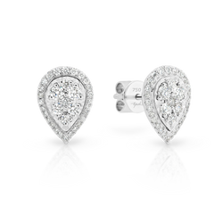 Diamond Pear Shaped Halo Cluster Stud Earrings