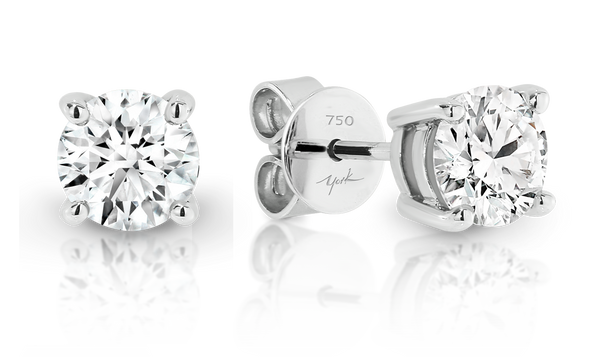 Four Claw Australian Argyle White Diamond Stud Earrings