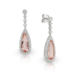 Pear Shape Morganite and Diamond Drop Earrings