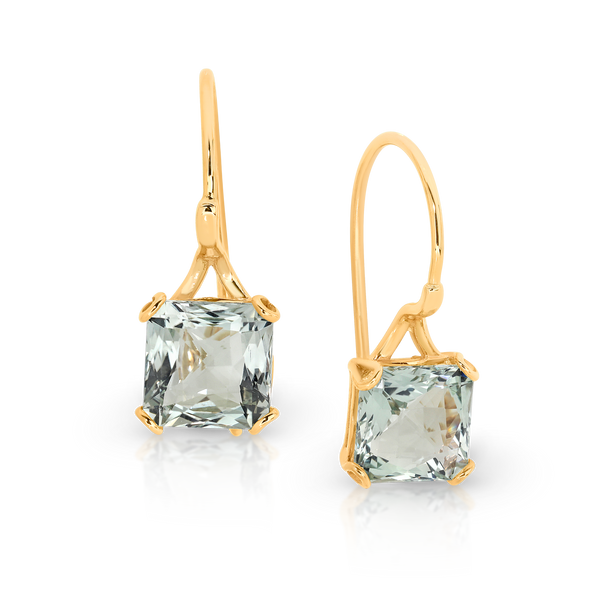 Green Amethyst Drop Earring on Shepherd Hooks