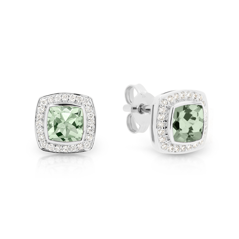 Green Amethyst and Diamond Stud Earrings