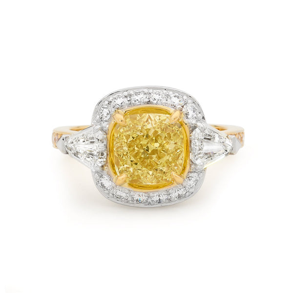 Cushion Cut Yellow Diamond Halo Ring