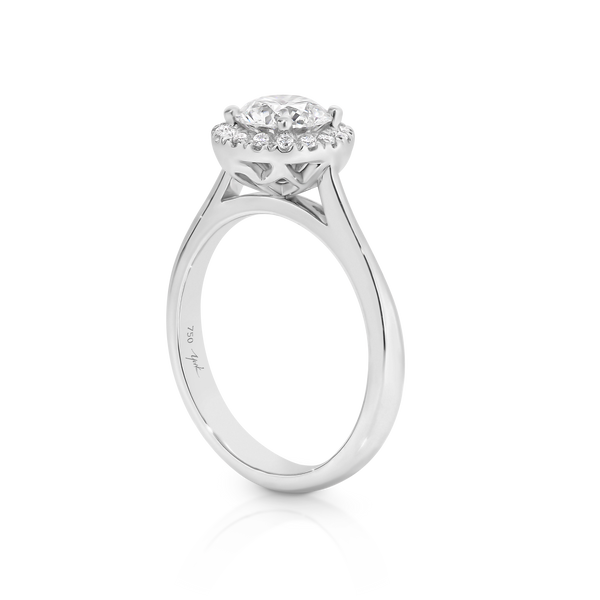 Australian Argyle diamond halo engagement ring