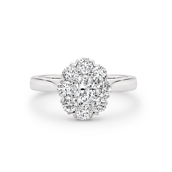 Oval Diamond Halo White Gold Ring
