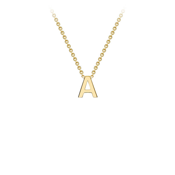 Petite Initial Pendants in Yellow Gold + Chain