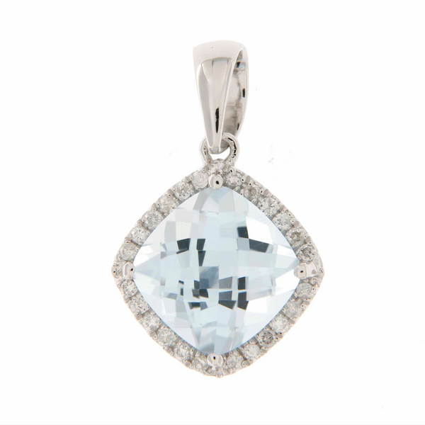 Blue Topaz & Diamond Halo Pendant