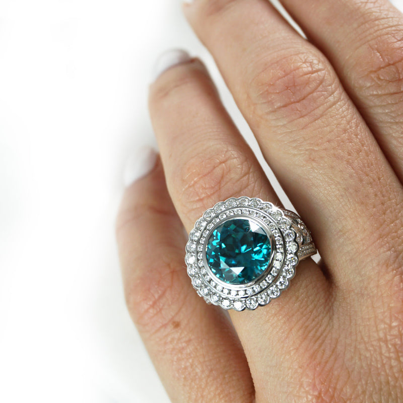 Blue Zircon and Diamond Dress Ring