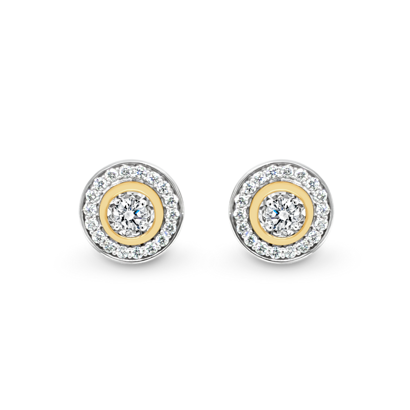 Diamond Halo Stud Earrings