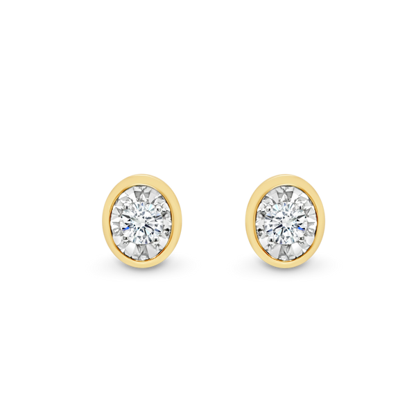 Oval Shaped Diamond Stud Earrings