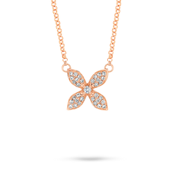 18ct Rose gold Diamond Flower Pendant