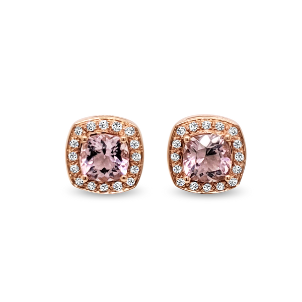Rose Gold Morganite & Diamond Halo Earrings