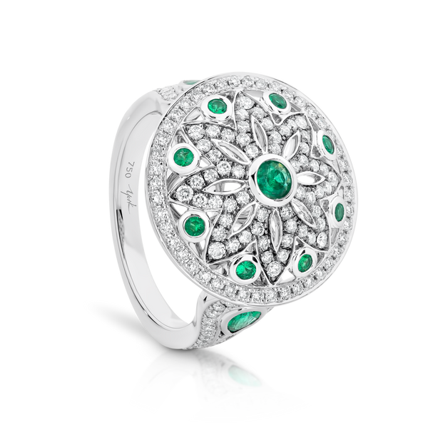 Emerald and Diamond Dress Ring