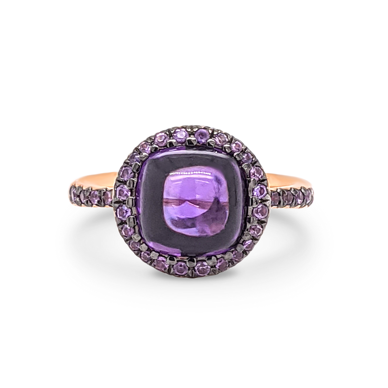 Rose Gold, Amethyst & Purple Sapphire Ring