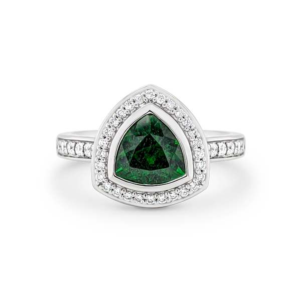 Trilliant Chrome Diopside & Diamond Halo Ring