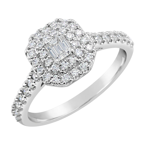 Double Halo Ring With Emerald Cut Diamond Diamond