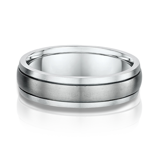 White Gold and Titanium Mens Wedding Band