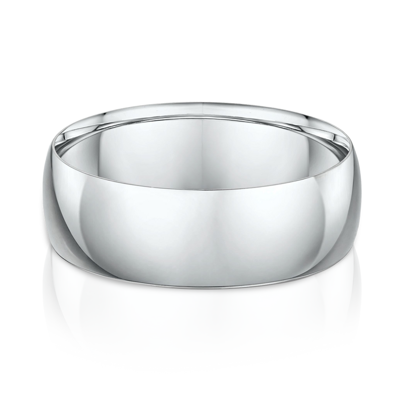 Classic White Gold Mens Wedding Band