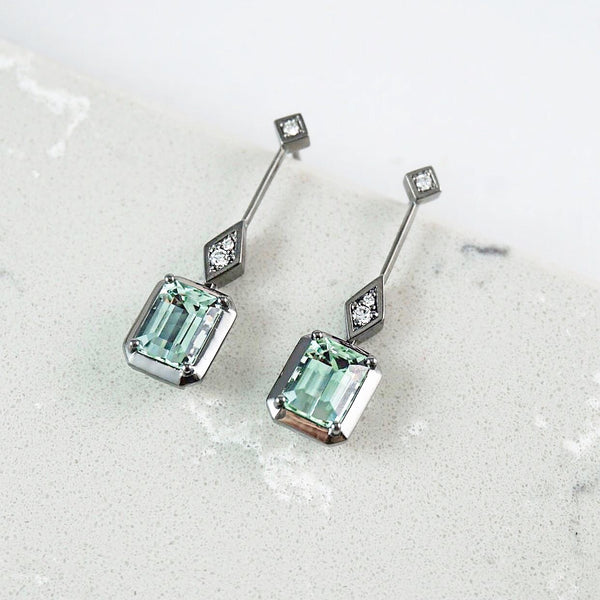 Mint Green Tourmaline & Diamond Drop Earrings