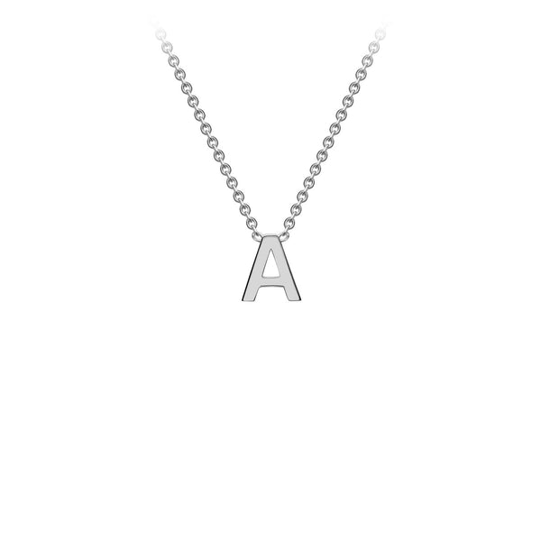 Petite Initial Pendants in White Gold + Chain