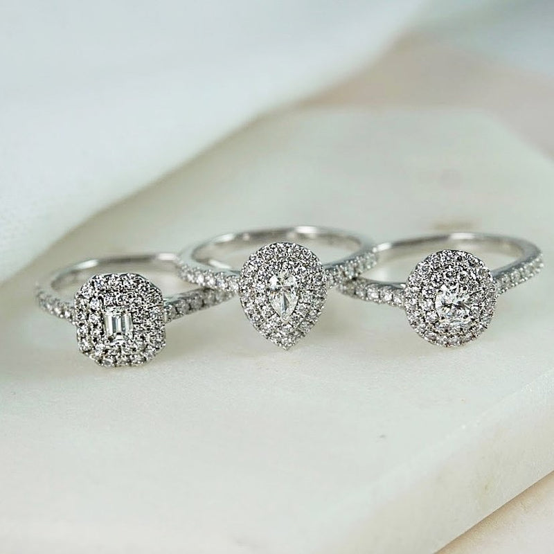Double Halo Pear Diamond Ring