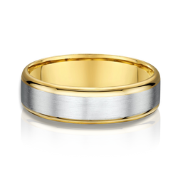 Two Tone Yellow and White Gold Mens Wedding Band