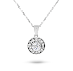 White Gold Diamond Halo Pendant