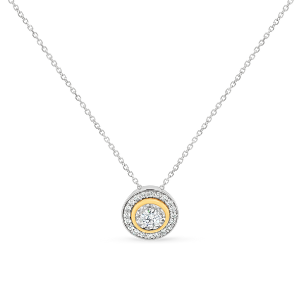 Bezel Set Diamond Halo Pendant